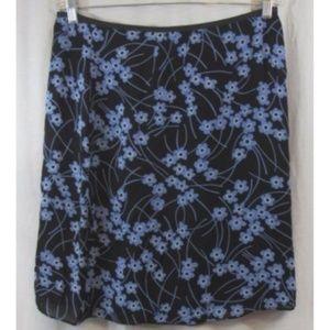 Ann Taylor Blue Black Floral A Line Skirt 12
